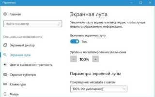 Как включить экранную лупу в Windows 10