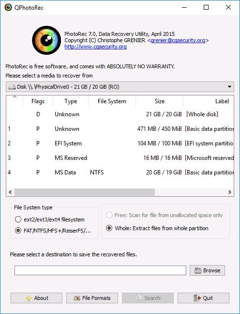 Восстановление данных в Photorec