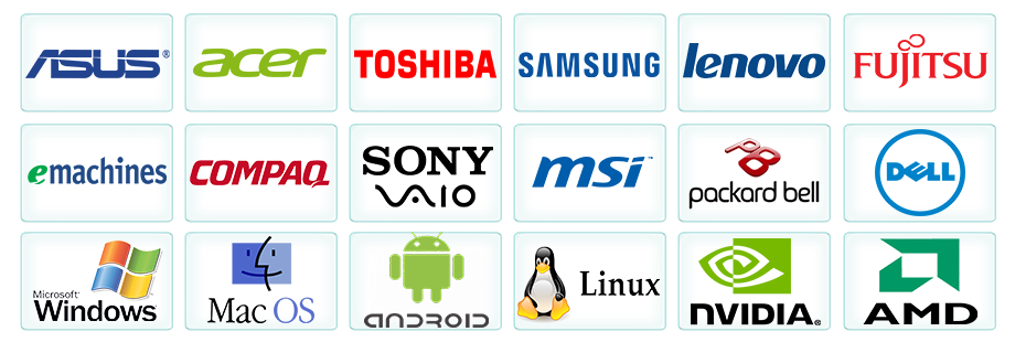 Ремонт и настройка: Asus, Acer, Lenovo, Fujitsu, MSI, LG, HP, Sony Vaio, Samsung, Toshiba, Packard Bell, Dell, Compaq, iRU, NVidia, AMD Ati; Программное обеспечение: Microsoft Windows, Mac OS, Android, Linux. Логотип фото