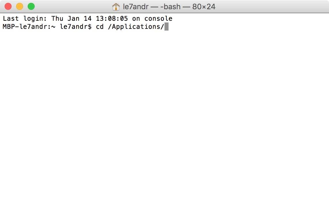 Ввод команды в Терминале в OS X